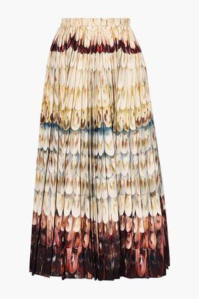 VALENTINO Pleated printed wool and silk-blend midi skirt