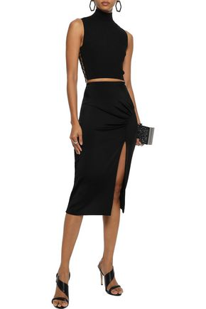 CUSHNIE Gathered stretch-jersey pencil skirt