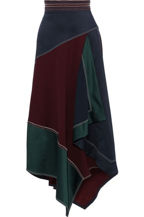 PETER PILOTTO Asymmetric draped color-block satin-crepe midi skirt