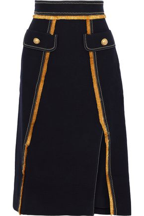 PETER PILOTTO Fringe-trimmed cotton-blend twill skirt