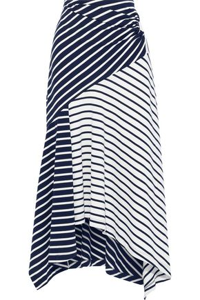 PETER PILOTTO Asymmetric striped cotton-jersey midi skirt