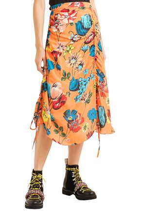 HOUSE OF HOLLAND Ruched floral-print crepe de chine midi skirt
