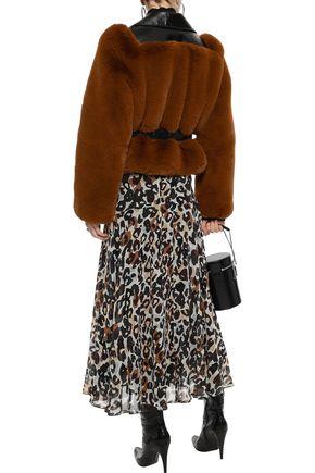 SONIA RYKIEL Pleated leopard-print silk-chiffon midi skirt