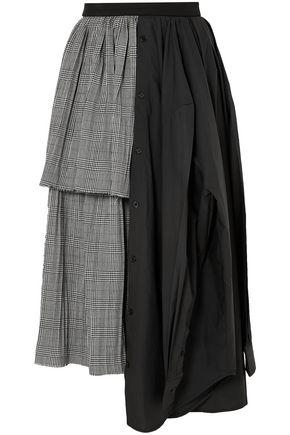 PUSHBUTTON Paneled printed cotton and wool-blend midi skirt