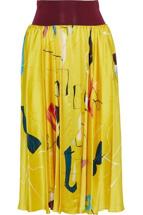 ROKSANDA Gathered printed silk-satin midi skirt