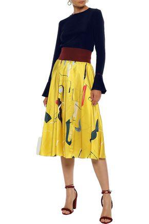 ROKSANDA Gathered printed silk-satin midi skirt