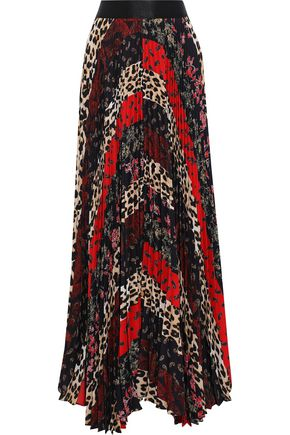 ALICE + OLIVIA Katz pleated patchwork-effect printed crepe de chine maxi skirt