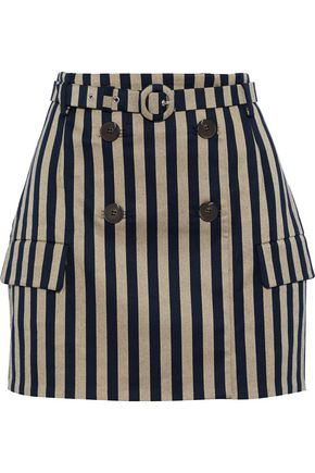 JONATHAN SIMKHAI Button-embellished striped cotton-blend mini skirt