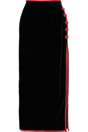 DE LA VALI Lexi button-embellished velvet midi skirt