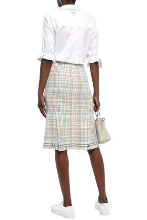 THOM BROWNE Frayed cotton-blend tweed skirt