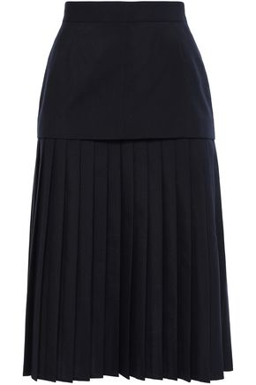 THOM BROWNE Pleated wool-blend midi skirt