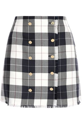 THOM BROWNE Frayed checked wool-blend mini skirt