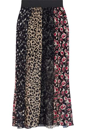 ANNA SUI Paneled printed plissé silk-chiffon maxi skirt