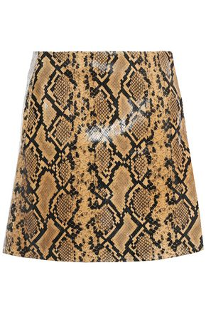 DE LA VALI Gina satin-jacquard mini wrap skirt