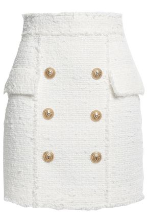 BALMAIN Button-embellished frayed tweed mini skirt