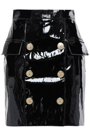 BALMAIN Button-embellished patent-leather mini skirt