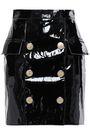 BALMAIN Button-embellished patent-leather mini skirt