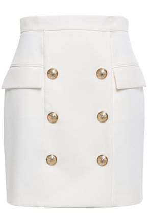 BALMAIN Button-embellished wool mini skirt