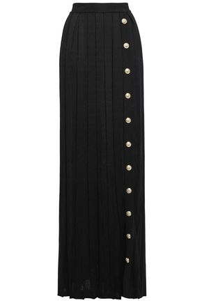 BALMAIN Button-embellished two-tone waffle-knit maxi skirt