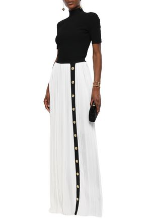 95544ce1 BALMAIN Button-embellished two-tone waffle-knit maxi skirt
