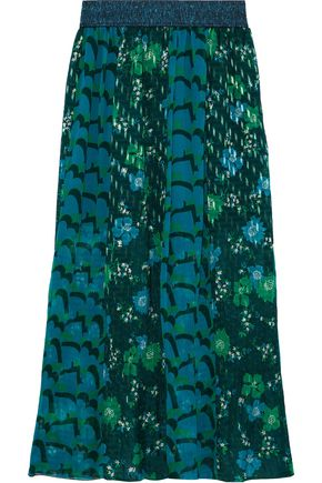 ANNA SUI Paneled printed plissé fil coupé and silk-chiffon maxi skirt