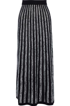 SONIA RYKIEL Mélange striped silk and cotton-blend maxi skirt
