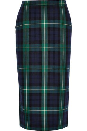 PUSHBUTTON Checked cotton-blend twill and crepe pencil skirt