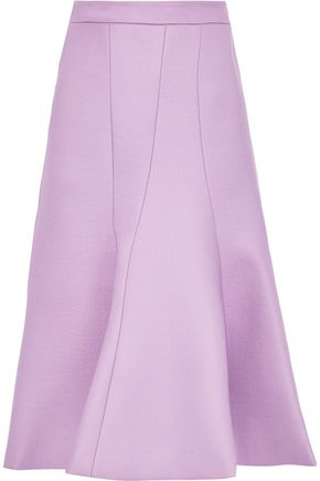 PUSHBUTTON Fluted wool-twill midi skirt