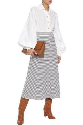 SONIA RYKIEL Striped ponte midi skirt