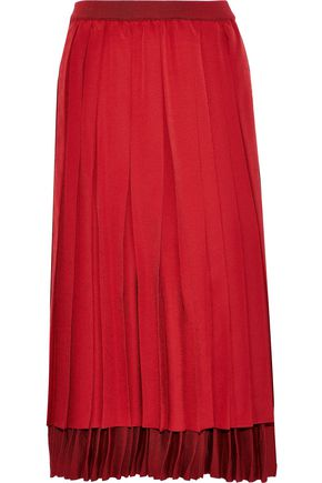 AGNONA Layered pleated silk crepe de chine and stretch-knit midi skirt