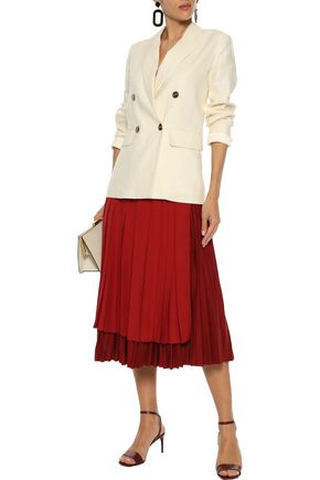 best sneakers e42cb b4a24 Layered pleated silk crepe de chine and stretch-knit midi ...