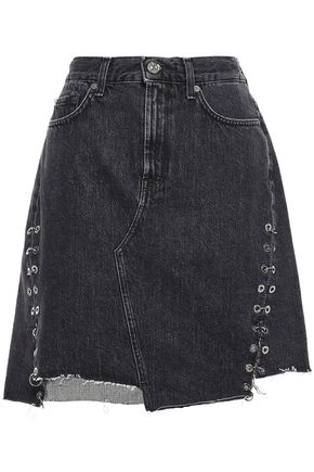 7 FOR ALL MANKIND Embellished frayed denim mini skirt