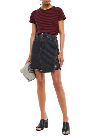 7 FOR ALL MANKIND Embellished frayed denim mini skirt