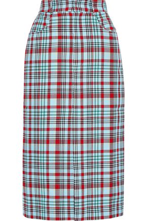 HOUSE OF HOLLAND Checked jacquard pencil skirt