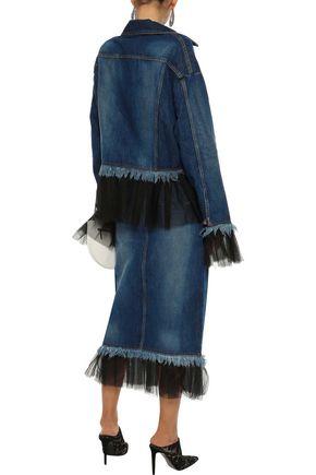 HOUSE OF HOLLAND Pleated tulle-trimmed denim midi pencil skirt