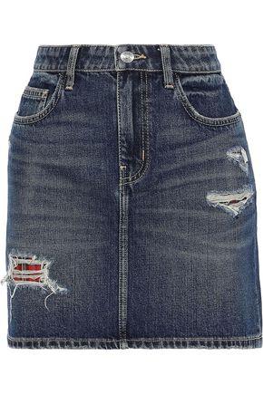 CURRENT/ELLIOTT The Five Pocket checked twill-paneled distressed denim mini skirt