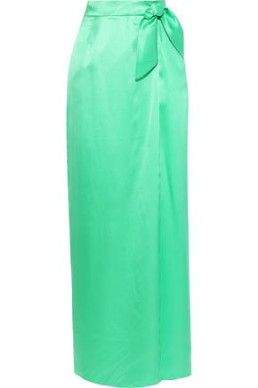 ISOLDA Knotted silk-satin maxi skirt