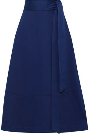 G. LABEL Lily tie-front cotton-twill midi skirt