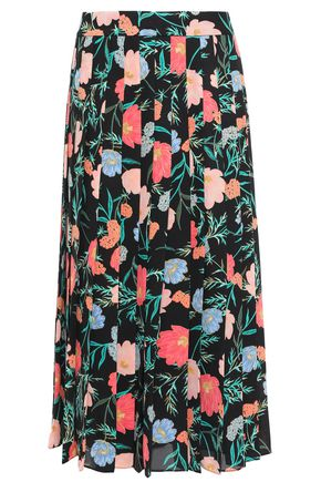 KATE SPADE New York Pleated floral-print crepe de chine midi skirt