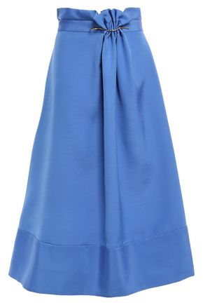 ROKSANDA Gathered embellished crepe midi skirt