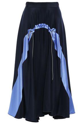 ROKSANDA Gathered two-tone stone-paneled crepe midi skirt