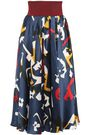 ROKSANDA Printed stretch knit-paneled silk-satin midi skirt