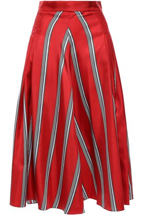 ROKSANDA Pleated striped silk-satin twill midi skirt