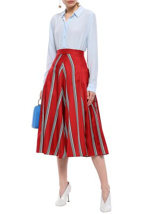ROKSANDA Pleated striped silk-satin twill midi skirt