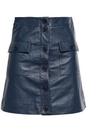 STAND STUDIO Apollo button-detailed leather mini skirt