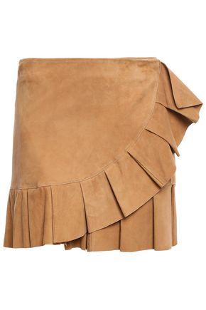 STAND STUDIO Clarice ruffled suede mini wrap skirt
