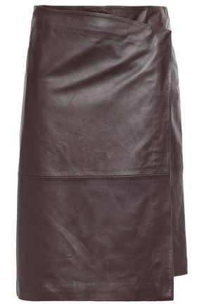 STAND STUDIO Wrap-effect leather skirt