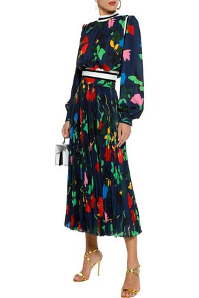 MSGM Pleated printed crepe de chine midi skirt