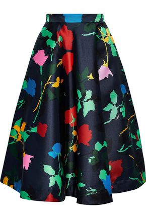 MSGM Flared floral-print satin-twill skirt