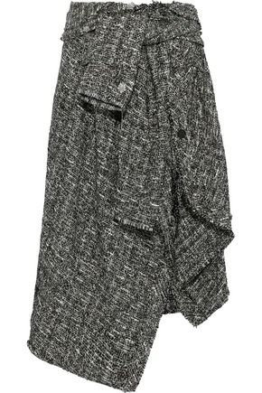 FAITH CONNEXION Tie-front asymmetric metallic bouclé-tweed midi skirt